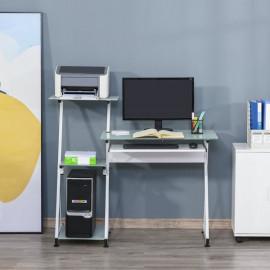 Bureau informatique à étagères en verre CRYSTAL blanc