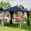 Pavillon de jardin rigide MIAMI noir à rideaux gris