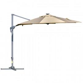 Parasol déporté octogonal et inclinable MALIBU à LED Beige