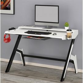 Bureau Gaming en bois mdf style fibre de carbone Blanc Noir