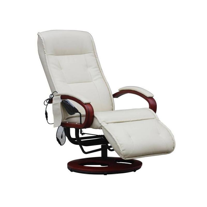 Fauteuil Relax Massant LONDRES Cuir Crème - Relax fauteuil
