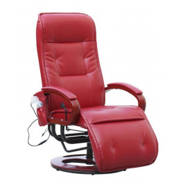 Fauteuil relax massant LONDRES Cuir rouge - MYCO00927
