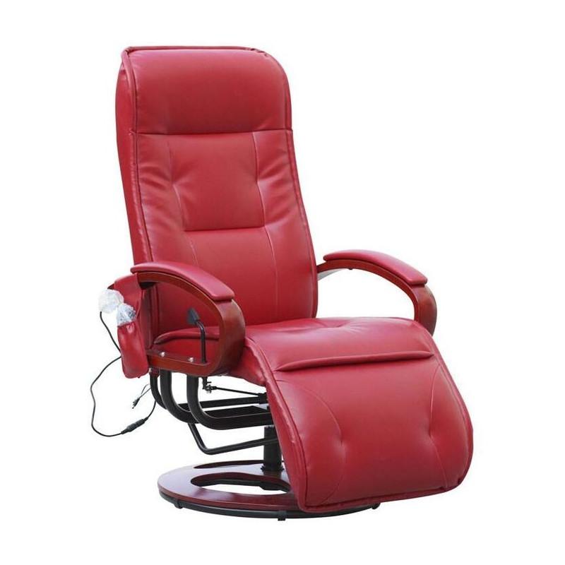 fauteuil relax massant londres cuir rouge. Black Bedroom Furniture Sets. Home Design Ideas