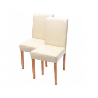 Chaise de salle à manger lot de 2 ATHENA cuir crème