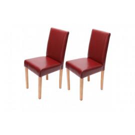 Chaise de salle à manger lot de 2 ATHENA cuir rouge