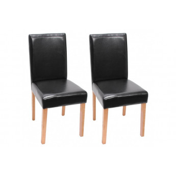 Chaise de salle à manger lot de 2 ATHENA cuir brun - MYCO00936
