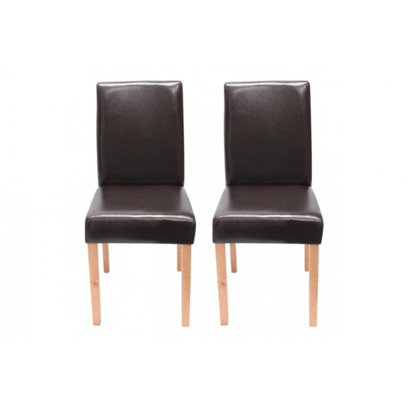 Chaise de salle manger lot de 2 athena cuir brun for Chaise de salon cuir