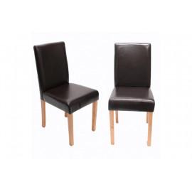 Chaise de salle à manger lot de 2 ATHENA cuir noir - MYCO00936