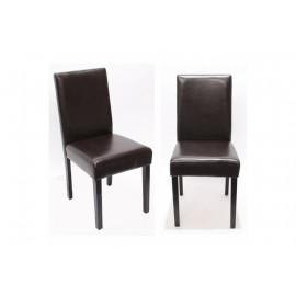 Chaise de salle à manger lot de 2 ATHENA cuir brun - MYCO00937