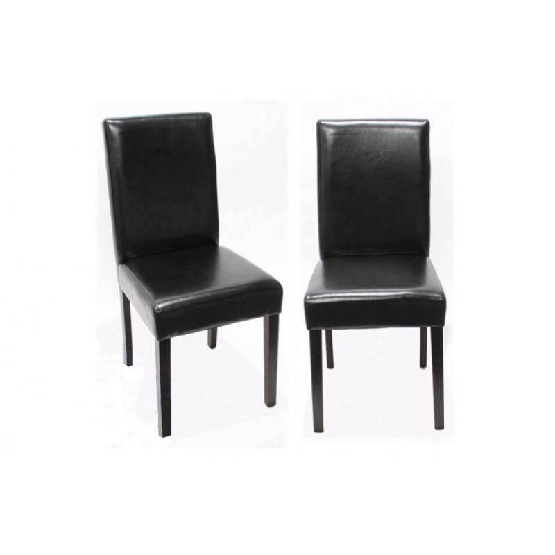Chaise de salle manger lot de 2 santorini cuir noir Chaise de salle a manger en cuir noir