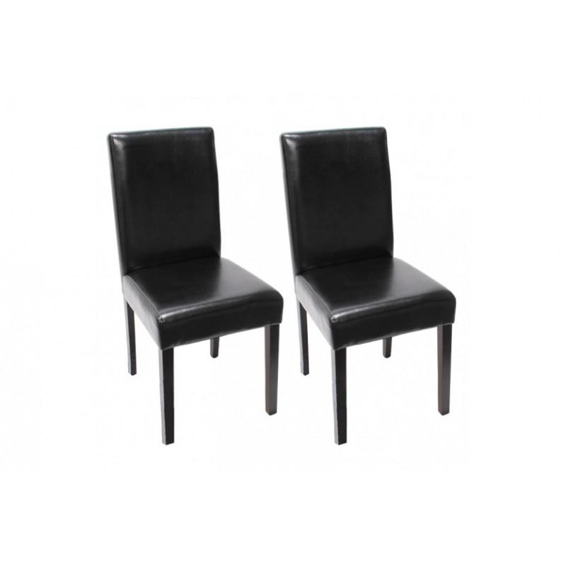 Chaise de salle manger lot de 2 santorini cuir noir for Chaise de salle a manger noir