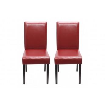 Chaise de salle à manger lot de 2 SANTORINI cuir rouge