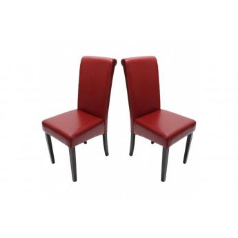 Chaise de salle à manger lot de 2 FLORENCE cuir rouge - MYCO00951