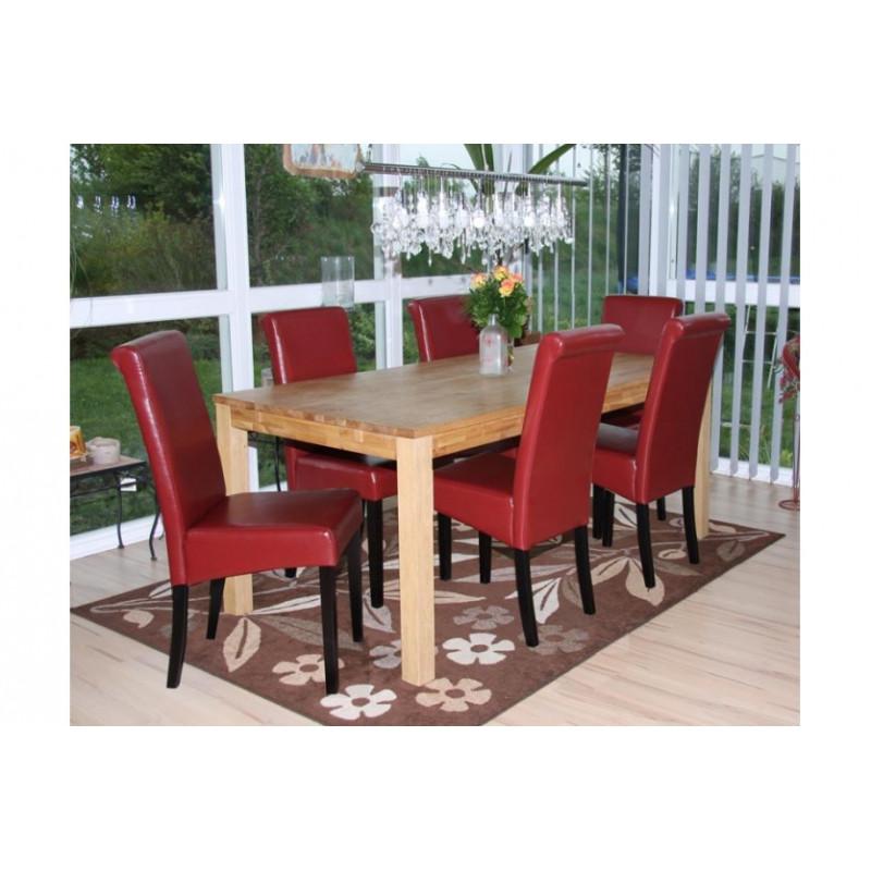chaise de salle manger lot de 2 florence cuir rouge pieds fonc s. Black Bedroom Furniture Sets. Home Design Ideas