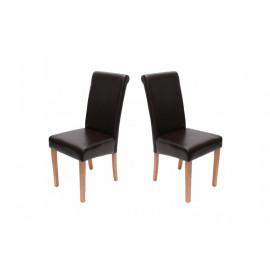 Chaise de salle à manger lot de 2 FLORENCE cuir Brun