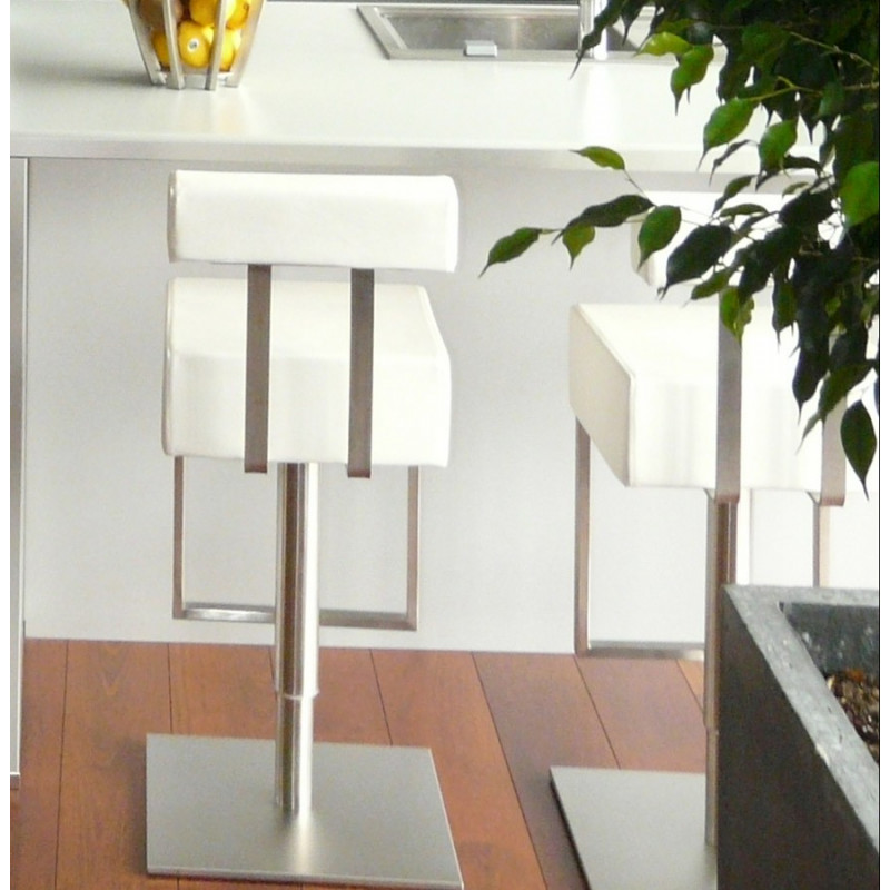 tabouret de bar design cubo blanc. Black Bedroom Furniture Sets. Home Design Ideas